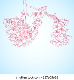 blue background with red sakura flowers