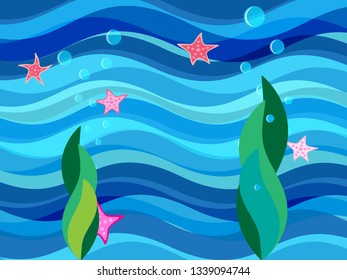 Blue background with sea bottom, seaweed and starfish