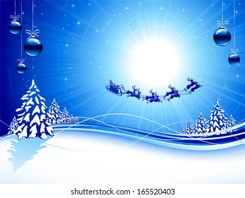 Blue background with Santa�s sleigh, Christmas tree, balls and stars, illustration