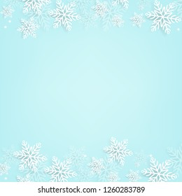 Blue Background With Snowflake With Gradient Mesh, Vector Illustration
