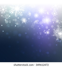 blue background with snowflakes, lights and shiny vector
