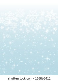 blue background with snowflakes, vector illustration