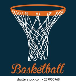 Blue background with text and a basketball net. Vector illustration