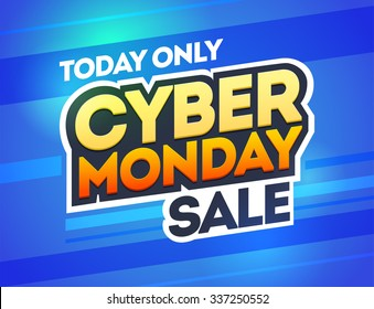 Blue background with text for cyber monday. Vector illustrations. Cyber Monday banner design