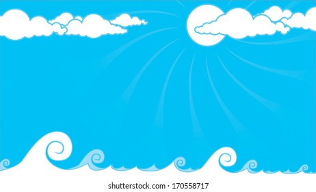 Blue background with tidal waves and clouds