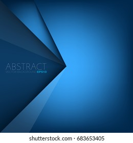 Blue background triangle and corner element overlap layer and dark space for text design