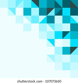 Blue background with triangles and squares