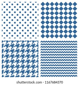 Blue background vector set. Seamless patterns or textures with polka dots, chevron, zig zag and houndstooth on tile background