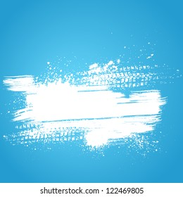 Blue background with white grunge splash and tire track