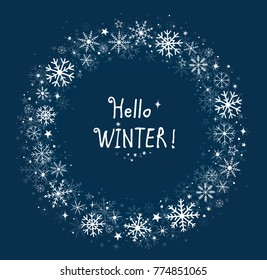 blue background winter frame with hand drawn snowflakes