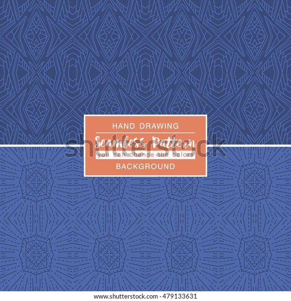 Blue backgrounds with seamless patterns. Ideal for printing onto fabric and paper or scrap booking. Vector illustration