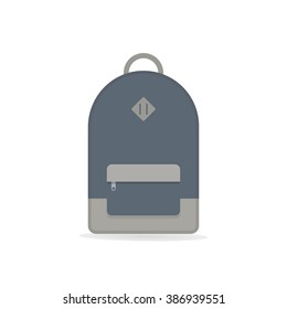 Blue backpack. Isolated backpack on white background. Backpack flat icon