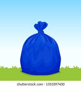 blue bag plastic garbage on grass sky background, bin bag, garbage bags for waste, pollution plastic bag waste, 3r ad, waste plastic bags and copy space for banner advertising background