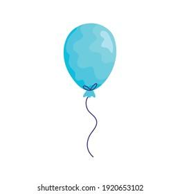 blue balloon helium floating acuarela birthday icon vector illustration design