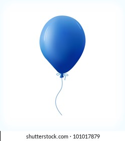 Blue balloon on white background. Vector Illustration.
