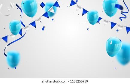 Blue balloons, confetti concept design  greeting background. Celebration Vector illustration.