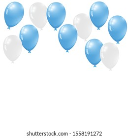 blue balloons, vector illustration. Confetti and ribbons, Celebration background