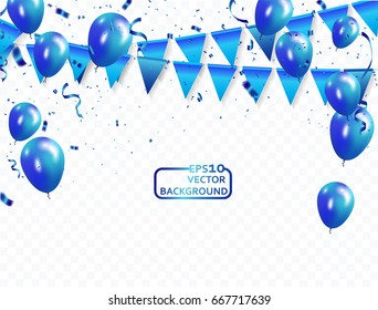 blue balloons, vector illustration. Confetti and flag ribbons, Celebration background template with.