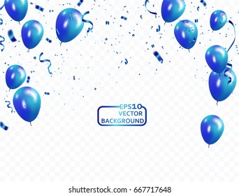 blue balloons, vector illustration. Confetti and ribbons, Celebration background template with.