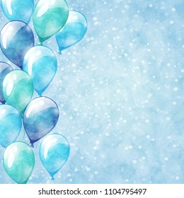 Blue balloons. Vector sparkle background with watercolor texture