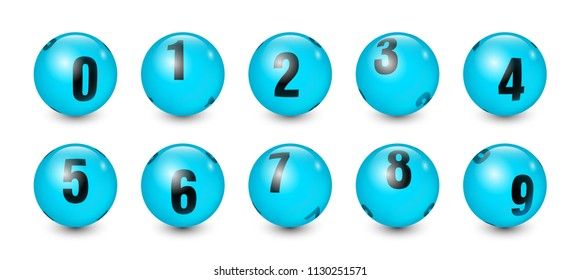 Blue Balls Set with Black Text Number 0 to 9