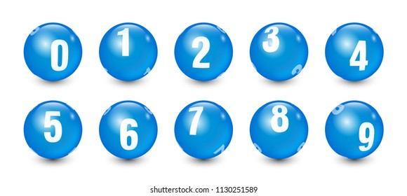 Blue Balls Set with White Text Number 0 to 9