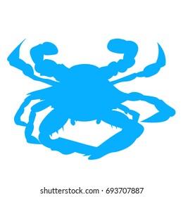 Blue Baltimore or Maryland Crab silhouette. Chesapeake Bay Crab.