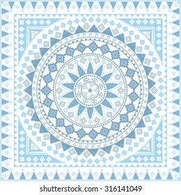 Blue bandana. Bohemian, tribal, ethnic design