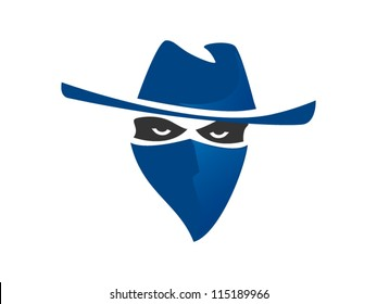 Blue Bandit With Hat And Bandanna Inspired From Western