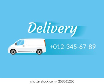 Blue banner with delivery van and telephone number
