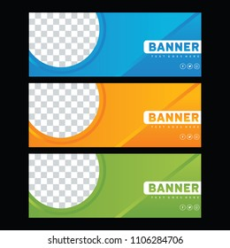 Blue banner design template. Green facebook cover. Orange Brochure design.  Abstract banner set. Gift card. sale ad