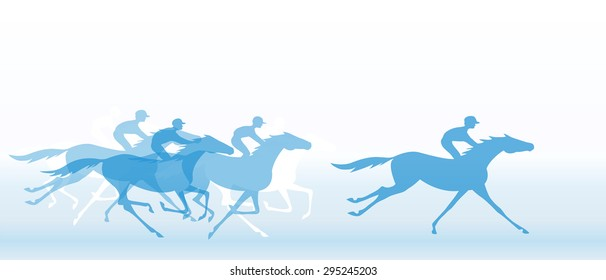 Blue banner with horse racing. Galloping horseback riders. Horseracing winner, vector.