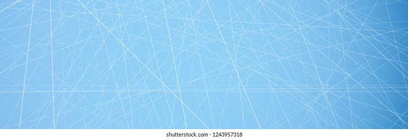 Blue banner template with abstract ice pattern. Vector background.