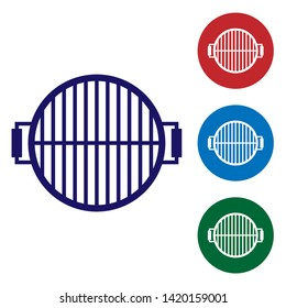 Blue Barbecue grill icon isolated on white background. Top view of BBQ grill. Steel grid. Set color icon in circle buttons. Vector Illustration