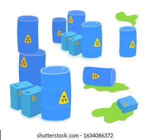 Blue barrels with radioactive wastes. Spilled bright green liquid. Radiation symbols on containers. Industrial problem. Vector cartoon illustration set isolated on white background.