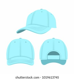 Blue Baseball Cap isolated on white background. Front, side and back views