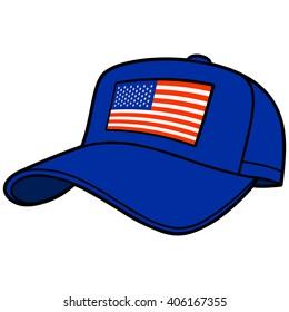 Blue Baseball Cap with US Flag