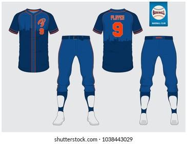 Blue Baseball jersey, sport uniform, raglan t-shirt sport, short, sock template. Baseball t-shirt mock up. Front and back view baseball uniform. Flat baseball logo on blue label. Vector Illustration.