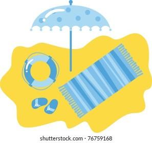 Blue beach set. Vector Clip-art