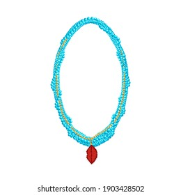 Blue beaded necklace with creative lips pendant. 3d vector illustration.