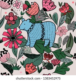 Blue bear in flowers floral seamless pattern,summer tropical botanical line art vintage style,garden concept for textile printed or card background