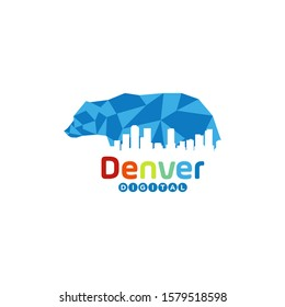 Blue Bear Pixel Denver Colorado Digital Town City Logo Design Inspiration Vector