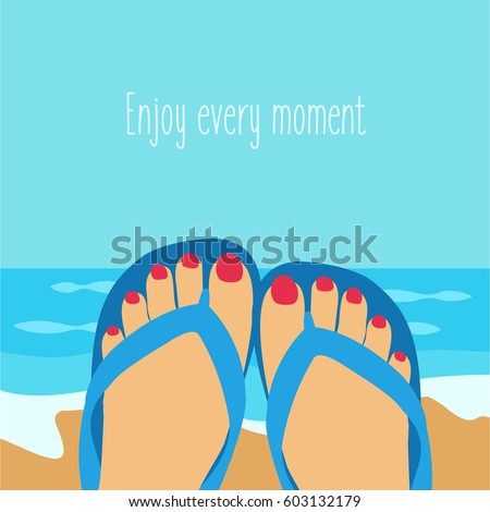 1d85e5eea9411c blue beautiful background with a relaxing woman on the beach. females feet  Vector with a