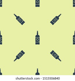 Blue Beer bottle icon isolated seamless pattern on yellow background.  Vector Illustration