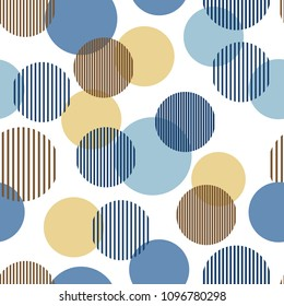 Blue and beige abstract simple striped circles geometric seamless pattern, vector