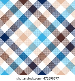 Blue beige diagonal check seamless fabric texture. Vector illustration.