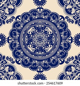 Blue and beige ornamental seamless pattern