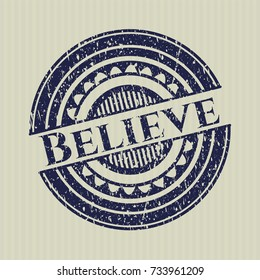 Blue Believe rubber grunge stamp