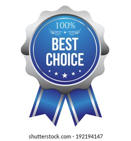 Blue best choice badge with ribbon on white background