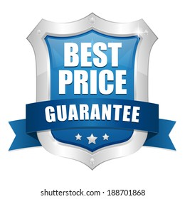 Blue best price shield with ribbon and metallic border
